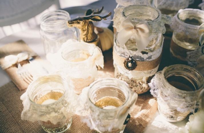 Portland real wedding romantic goth mason jar centerpieces