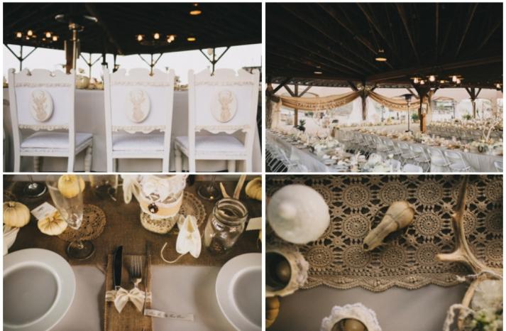 rustic goth wedding reception at a ranch