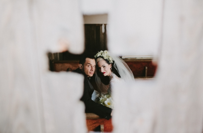 Portland real wedding unique bride and groom portrait