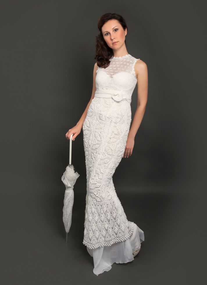 Crochet Dress : crochet illusion neckline wedding dress