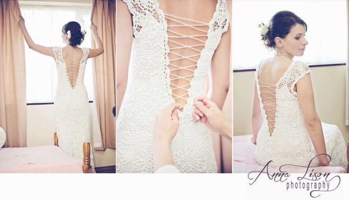 lace up back crochet wedding dress
