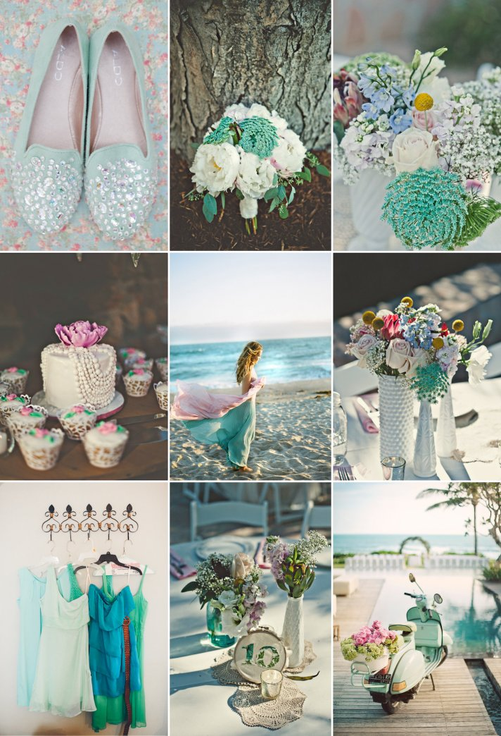 Mint Rose and turquoise wedding colors