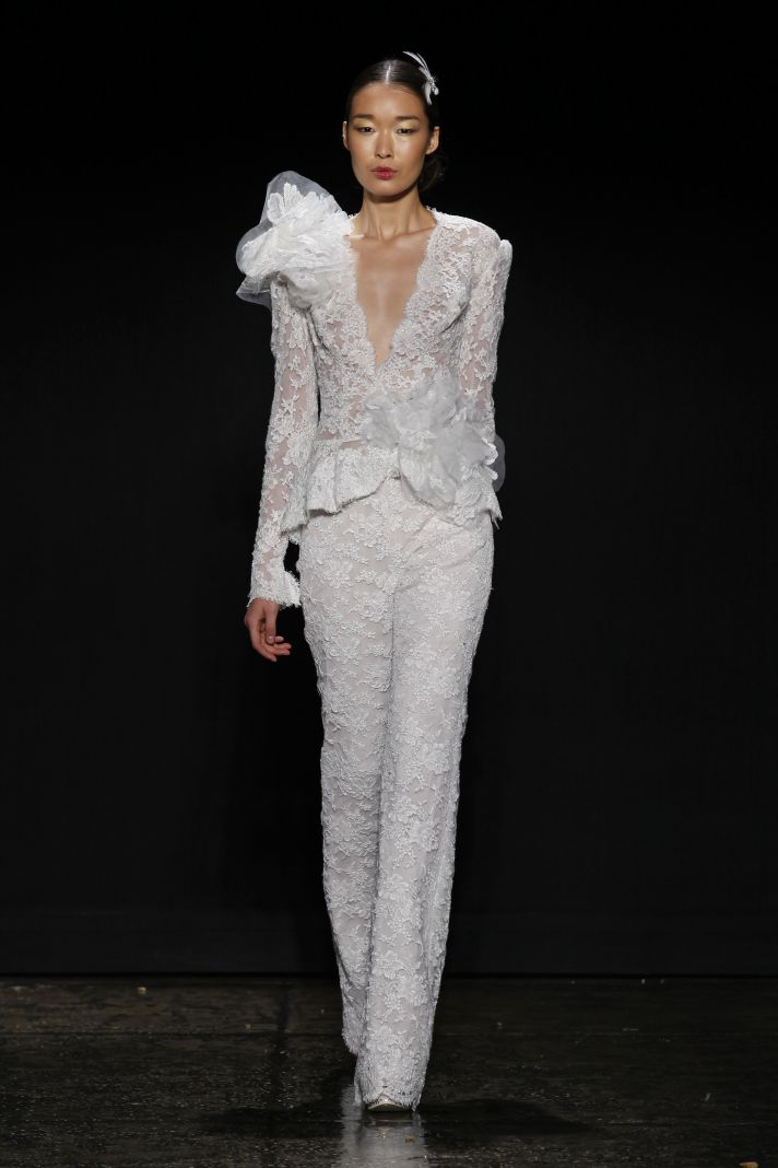 3440 lace wedding suit by Lazaro from Spring 2014 bridal collection