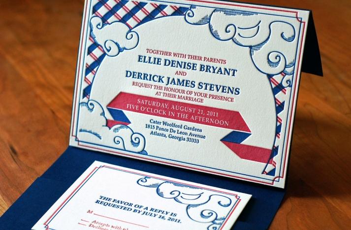 plaid letterpress wedding invitations
