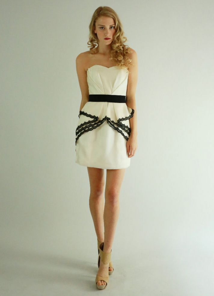 cream and black short bridesmaid dress