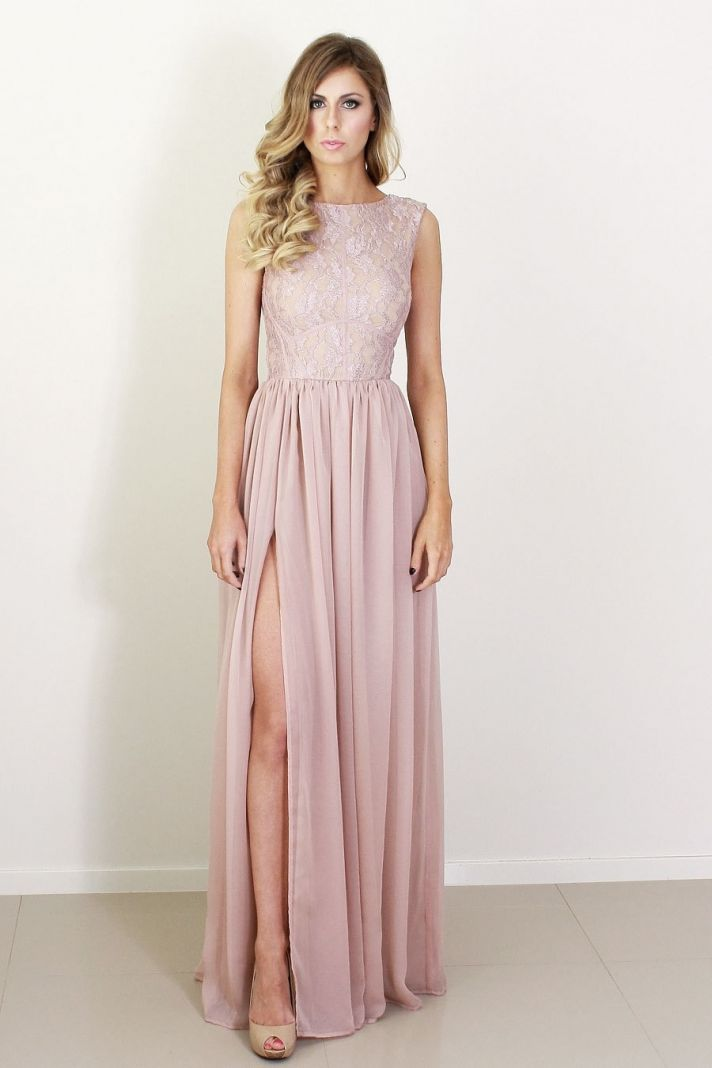 blush silk and lace bridesmaid dress