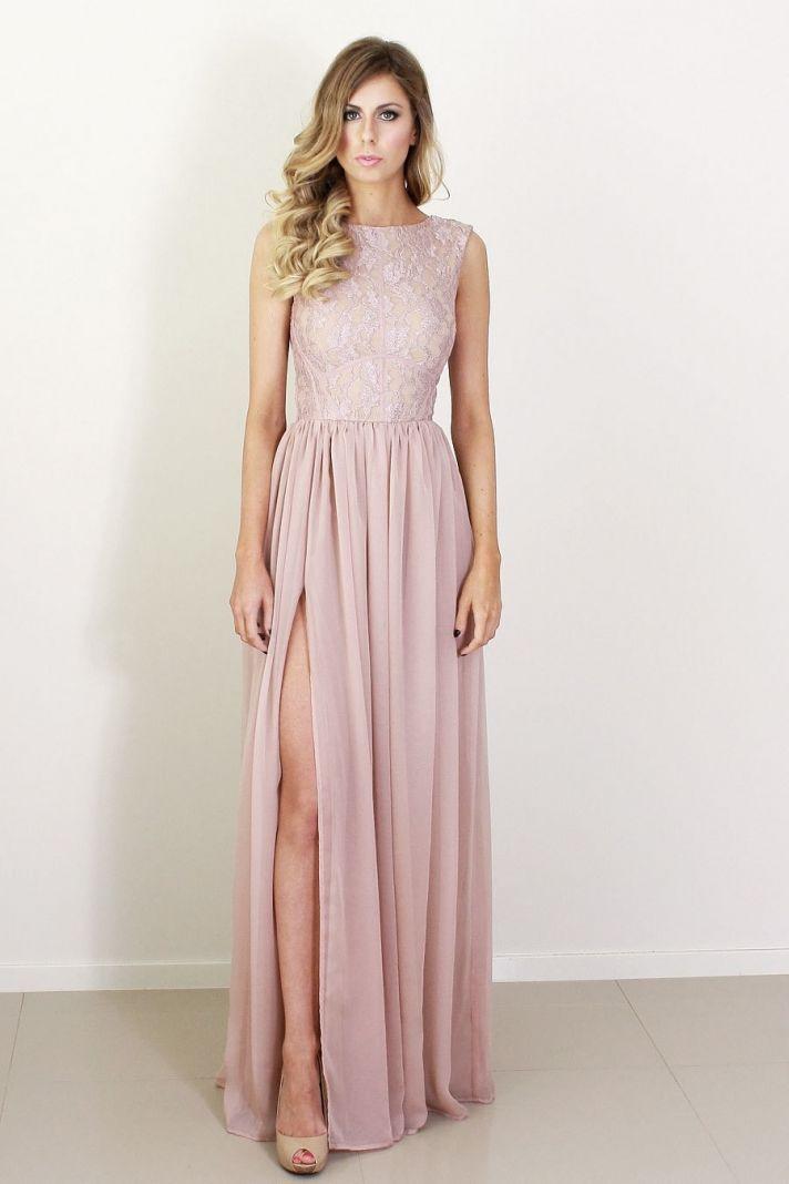blush silk and lace bridesmaid dress