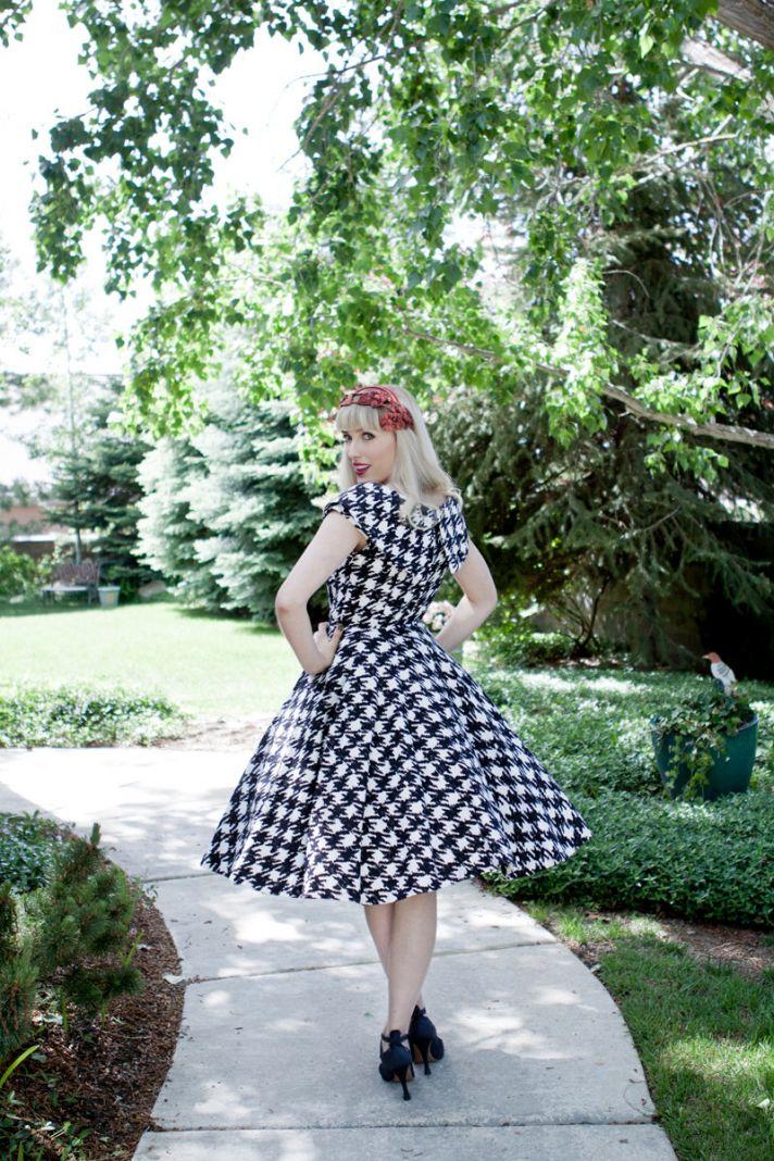 retro houndstooth bridesmaid dress
