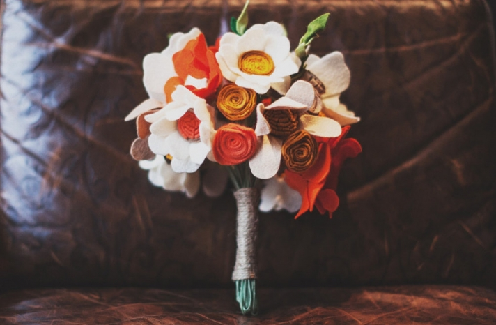 fall felt alternative wedding bouquet