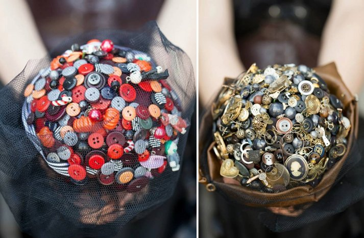 Vintage-goth-wedding-bouquets-of-buttons