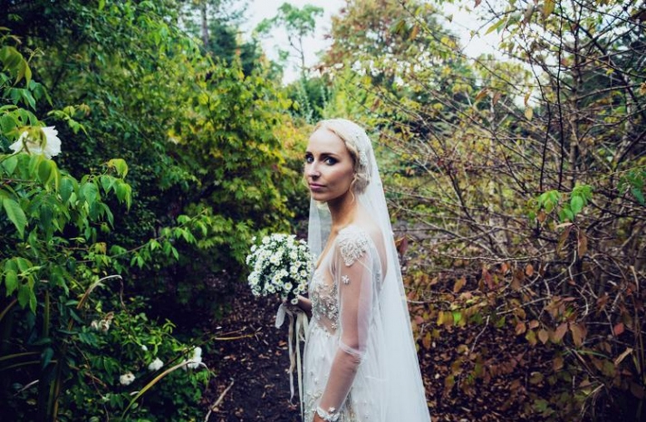 bohemian bridal portrait outside