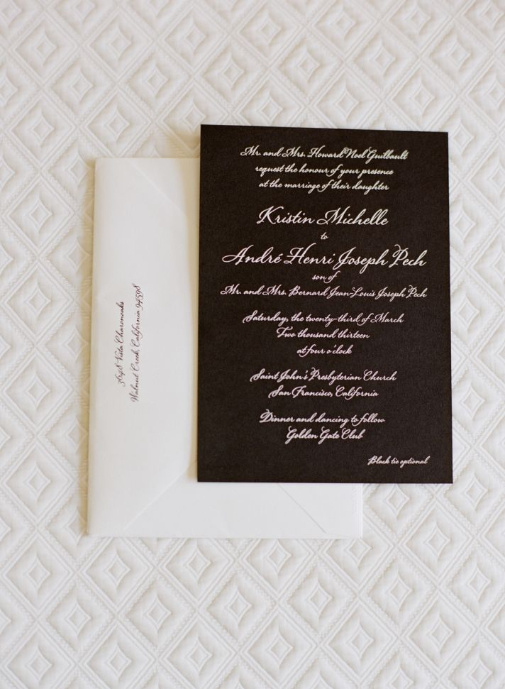 elegant black and white modern calligraphy wedding invitations