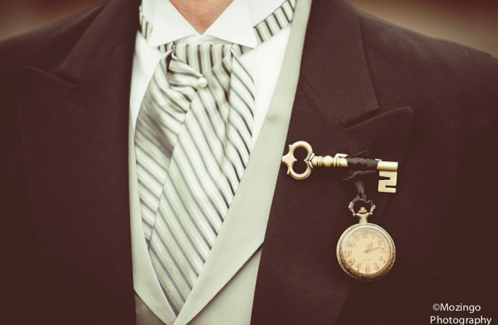 vintage key and pocket watch groom boutonniere