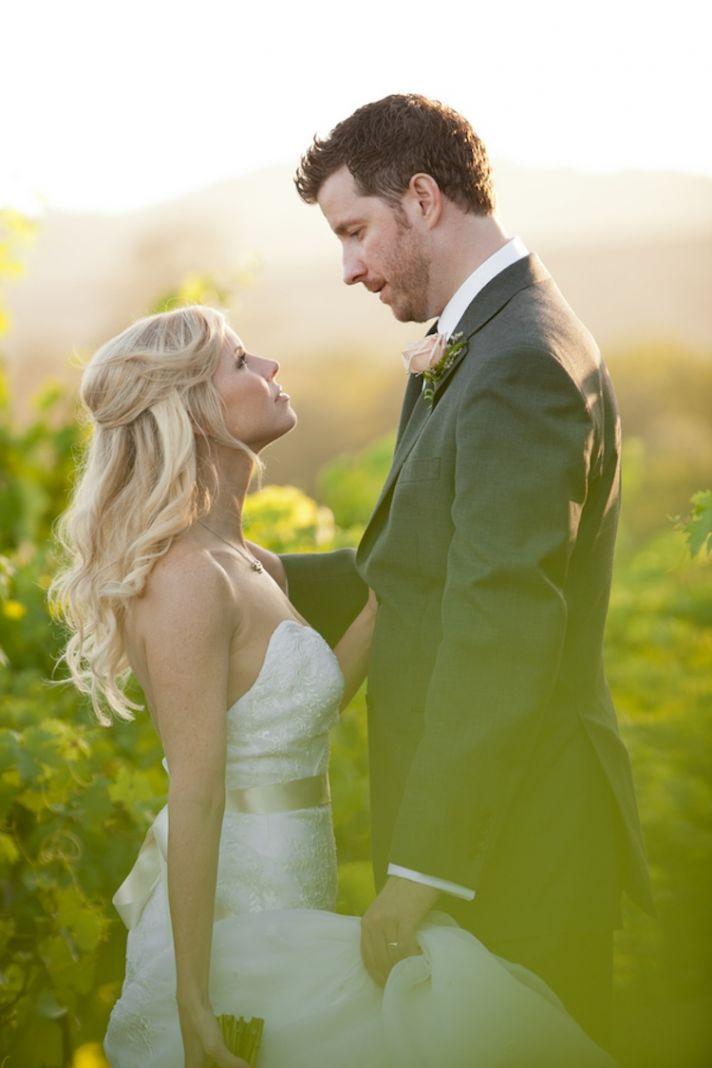 Real bride and groom in North California vineyard