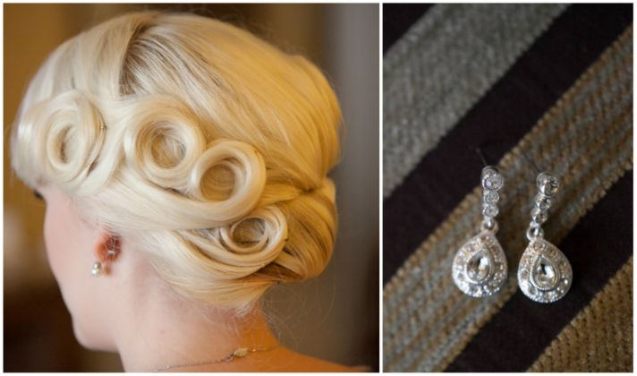 Bridal pinup and crystal earrings