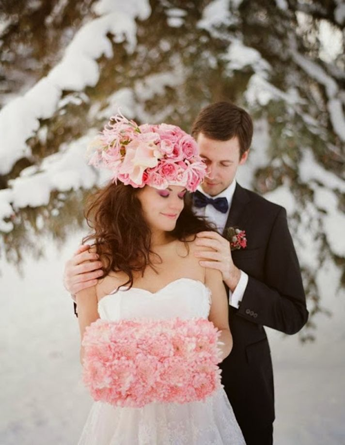 Winter bridal hat with pink roses