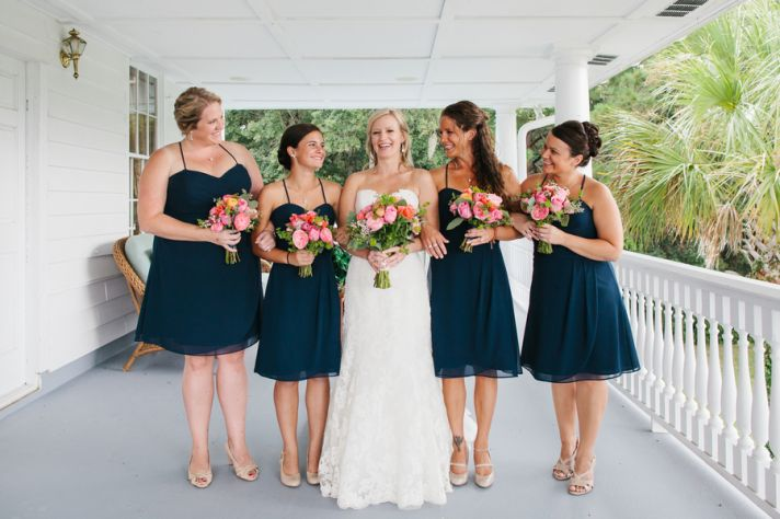 Short midnight blue bridesmaids dresses with spaghetti straps