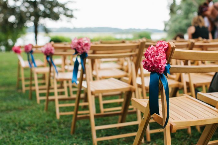 Simple outdoor ceremony aisle