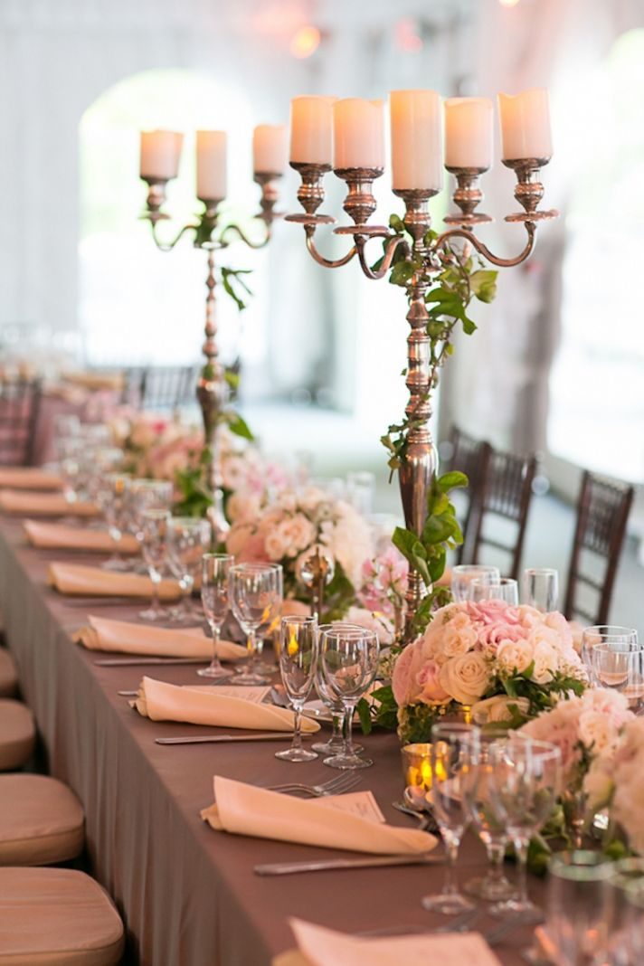 Romantic table setting with candelabras