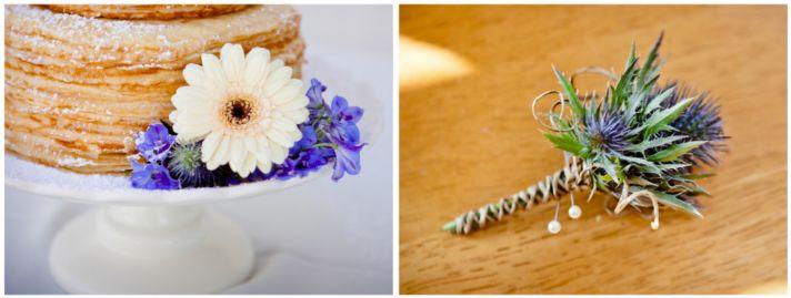Purple wedding flower accents