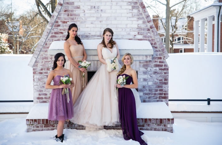 Bridal party picture in the snow