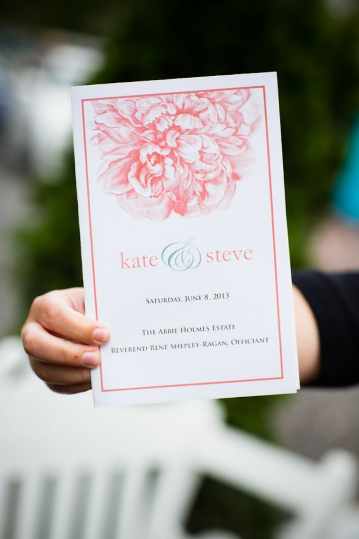 Ceremony programs with a peony theme