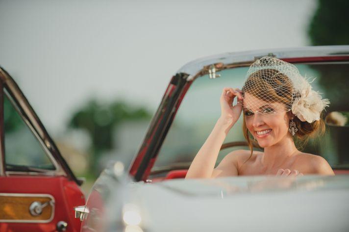 Vintage bride with headpiece