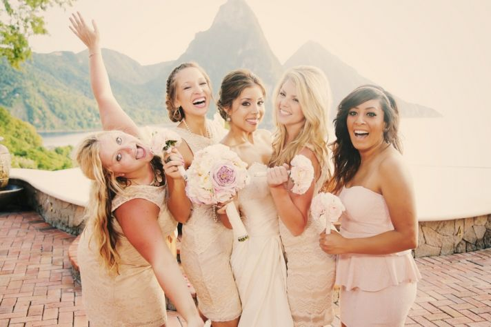 Blush bridesmaids dresses in St Lucia