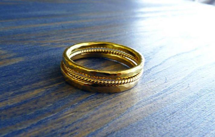 Three 14K gold wedding bands