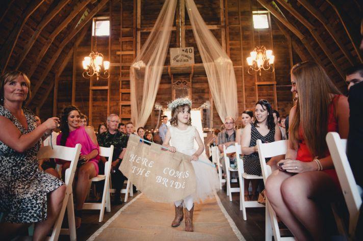 Flower girl in a barn ceremony