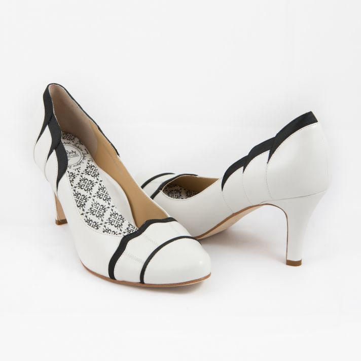 White and black bridal heels