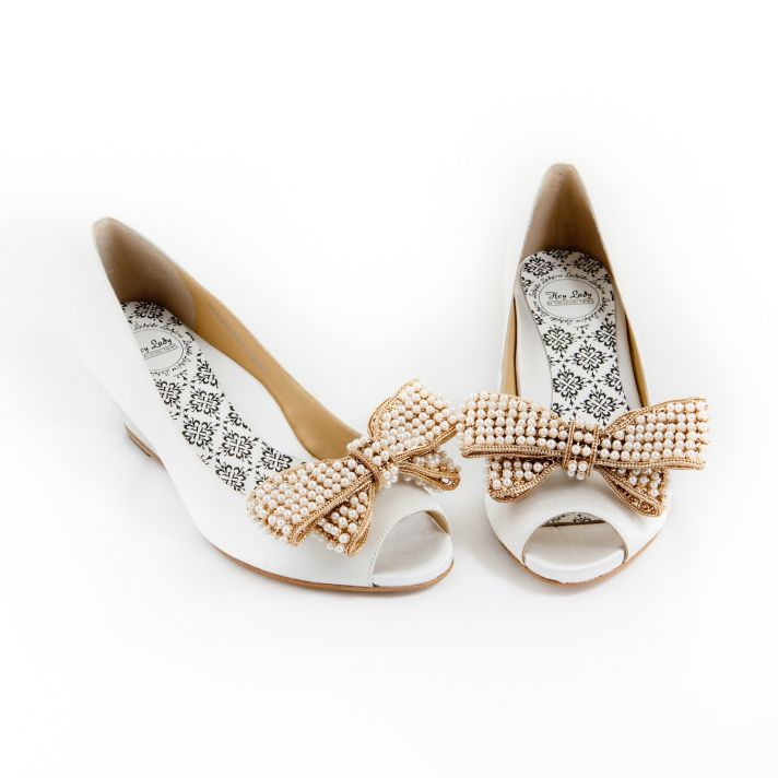 White bridal flats with bow clip