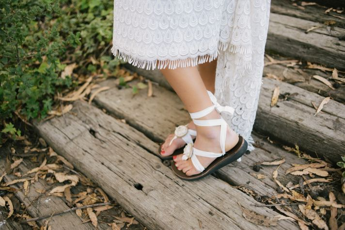 White sandals for a beach wedding
