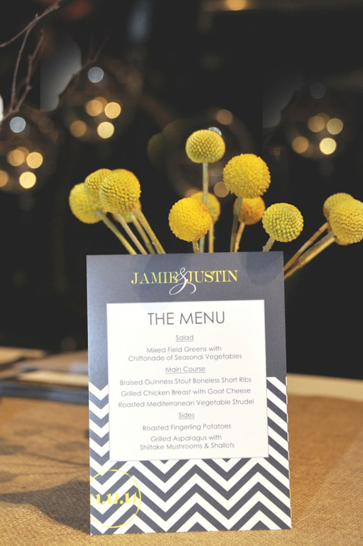 Chevron grey and yellow menu