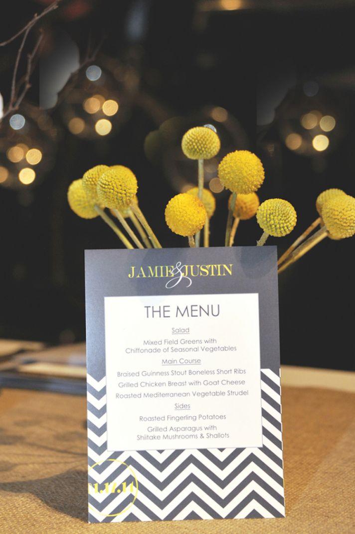 Chevron grey and yellow menu