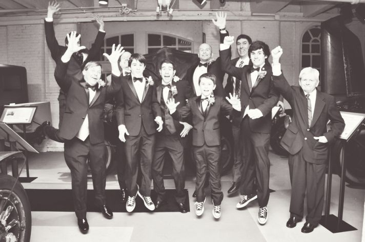 Urban groomsmen in tuxes