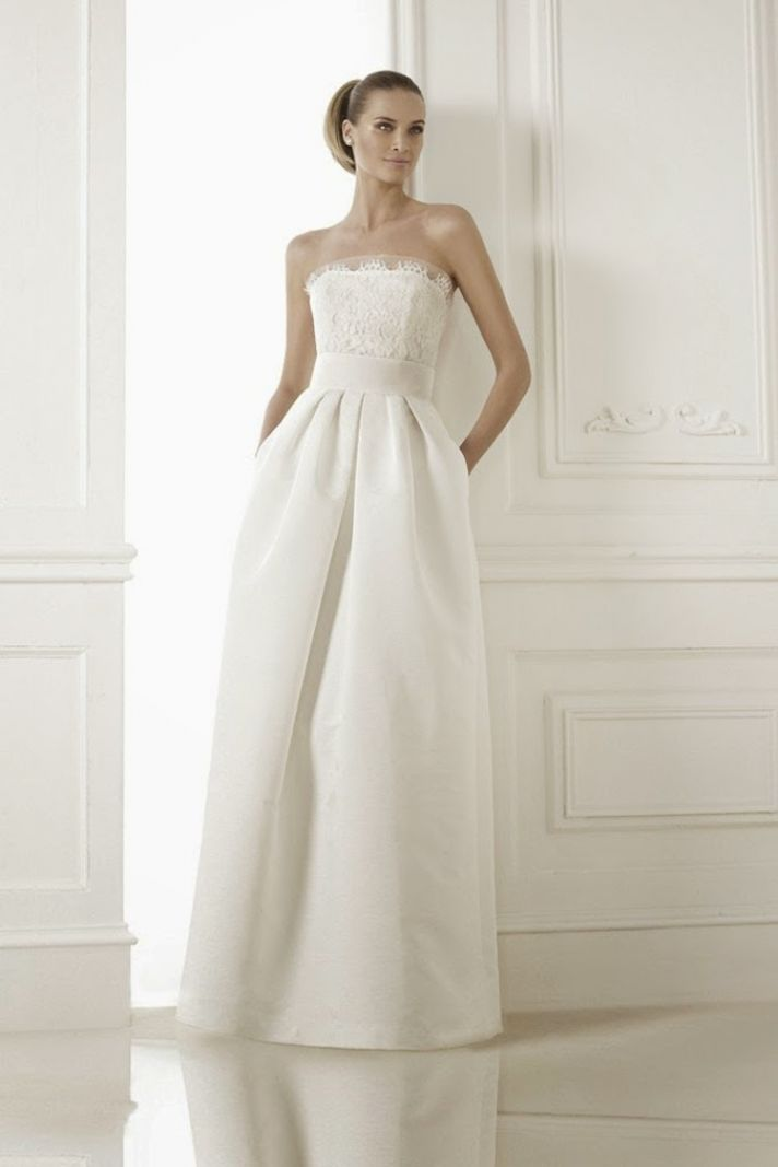 Classic minimalist wedding gown from Pronovias