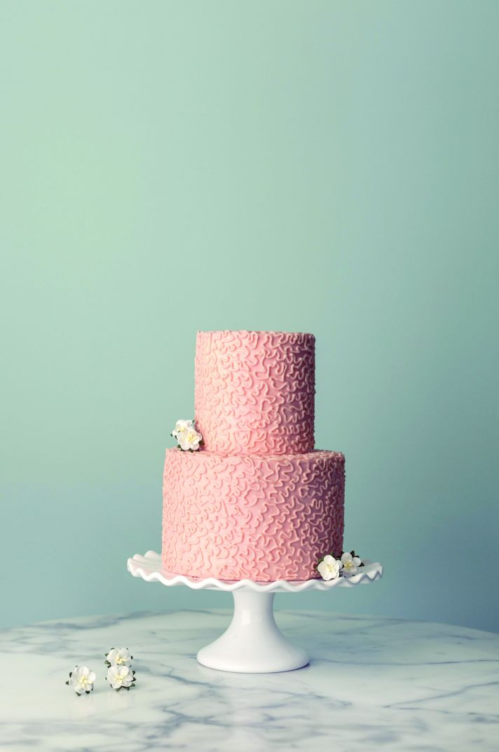 Two tiered wedding cake from Magnolia Bakery