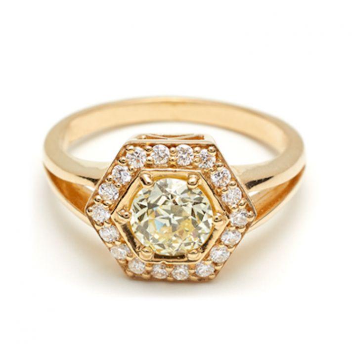 Hexagon Rosette engagement ring