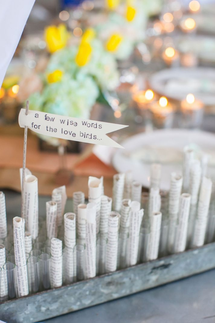 A few wise words for the love birds guest book idea