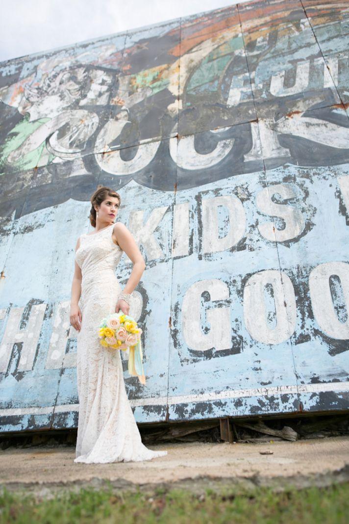 Modern wedding photo of the bride