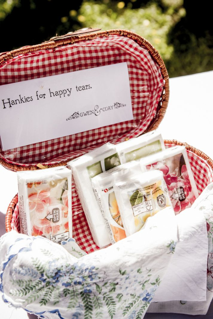 Hankies for happy tears basket