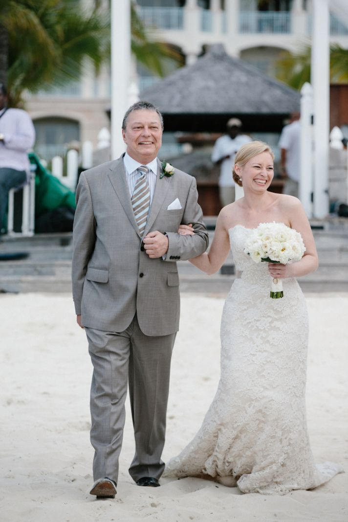 Bride and father at a beach ceremony