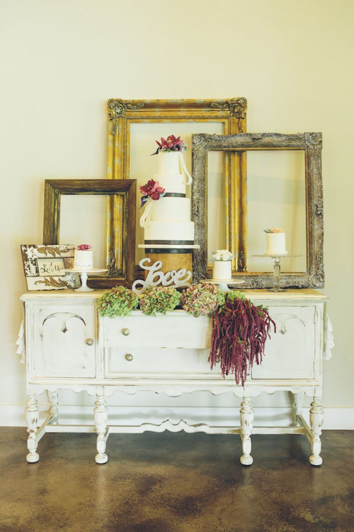 Cake table with frame decor