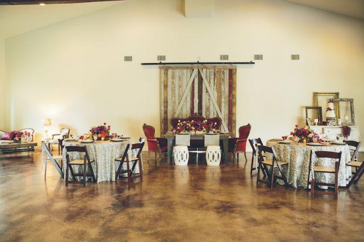 Vintage red wedding reception