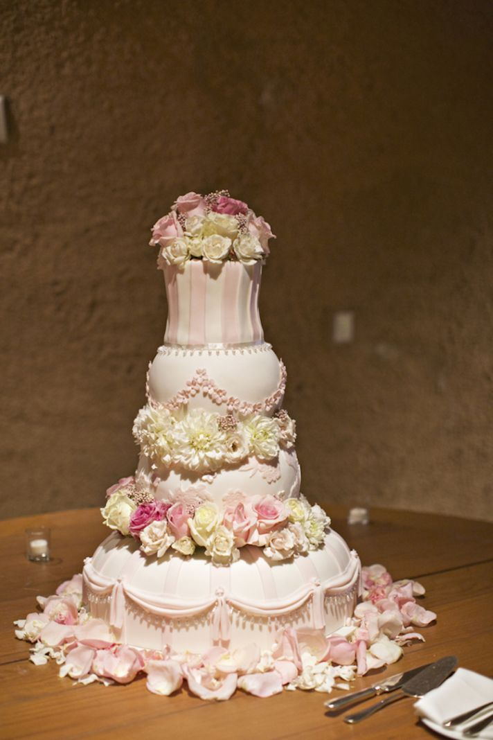Four tier pink floral wedding cake