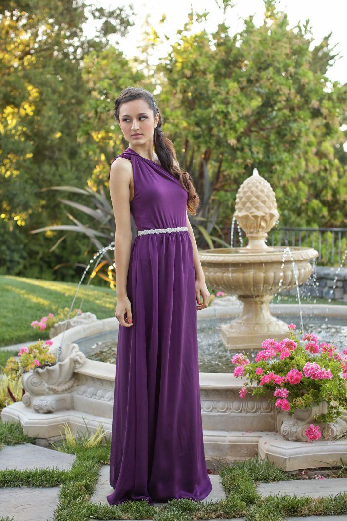 Purple one shoulder bridesmaids dress