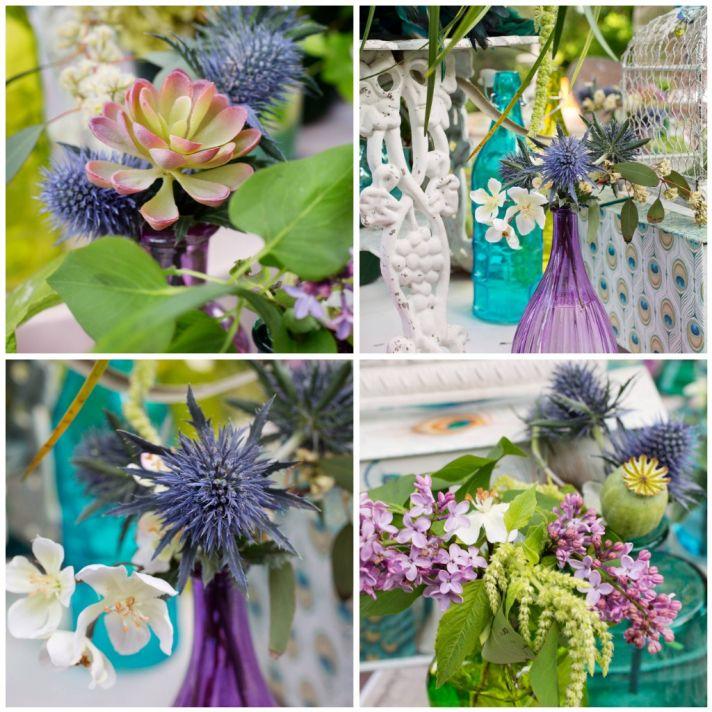 Purple and succulent flower decor