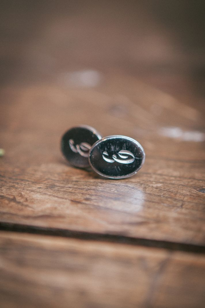 Initialed cufflinks for the groom