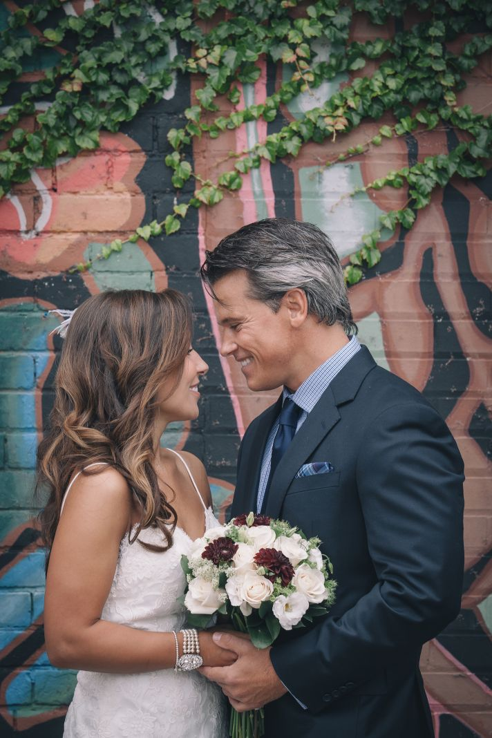 Urban wedding couple